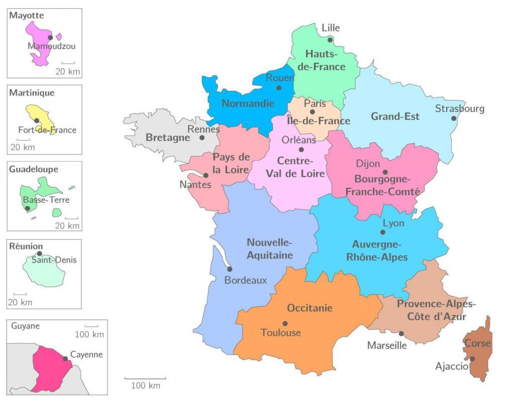 Carte regions francaises